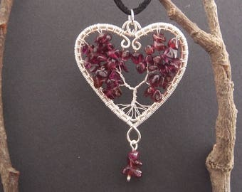 Hand crafted wire wrapped red garnet heart shaped tree of life necklace