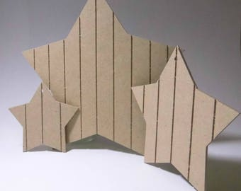CHRISTMAS SET 3 STAR MDF TO DECORATE 12-18-8 CM