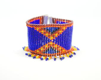 Shaman - Ethnic cuff beadwork fringe