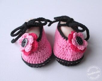 Chaussons ballerines rose et noir bébé 3 mois
