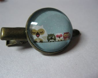 "Barrette or hair clip bronze with cabochon glass ""OWL family"""