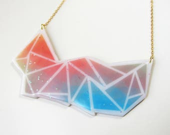 "Gold geometric ""was"" polymer clay necklace"