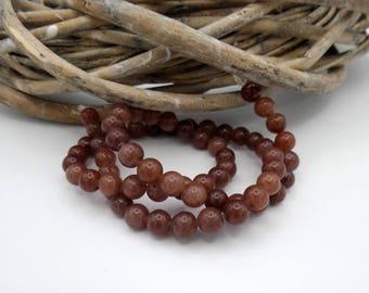 10 pearls gemstones round 6 mm brown tones