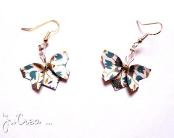 Origami butterflies flowers earrings