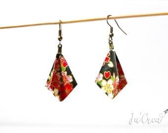 Origami earrings geometric diamond