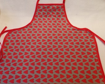 Apron for children 4-10 red and grey, to act older