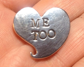 Me Too sterling silver heart pin with hand-made pin closure