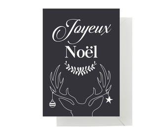 "Simple card ""Joyeux Noël"" with envelope"