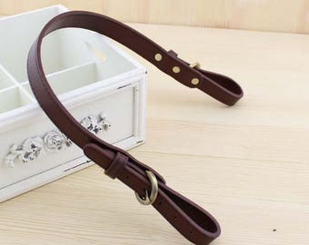 2 x straps handles attached to leather bag dark brown PU