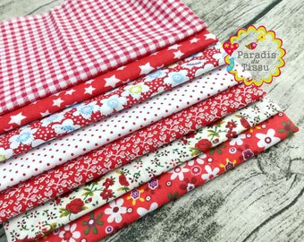 7 x fabric coupons dot flower geometry star patchwork cotton 100% Red series 03 50x50cm