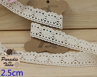 x 5 m Ribbon lace 2.5 cm cotton beige diamond C2-07