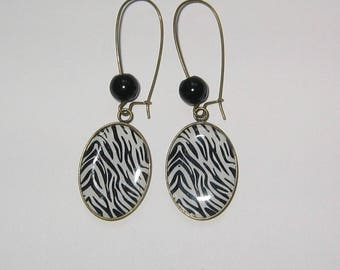 """Zebra"" 18x25mm bronze earrings"