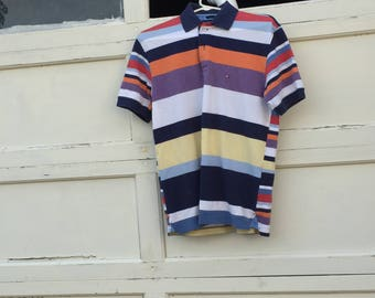 Vintage Tommy Hilfiger Striped Polo T Shirt