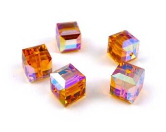 5 x Swarovski® 6 mm TOPAZ AB Crystal