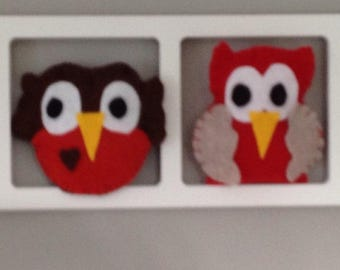 Child and idea - red brown birds Owls and unique baby room decoration