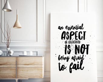 Canvas Typographical Motivational Print / An essential aspect of creativity