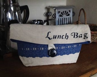 Lunch bag or purse for breakfast made from vintage fabric, blue and beige