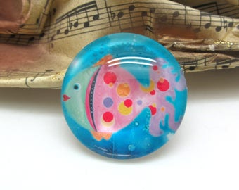 1 cabochon 25 mm glass fish Pop blue and pink - 25 mm