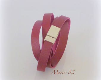 Strappy flat 10 mm / 95 CM - leather Burgundy synthetic