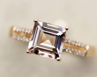 1.6 carat princess cut morganite engagement ring