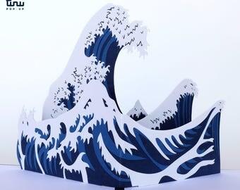 Pop up card : The great wave of Kanagawa - Hokusai