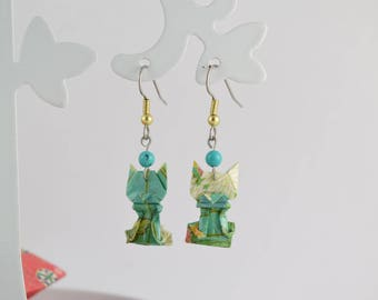 Origami cat turquoise earrings