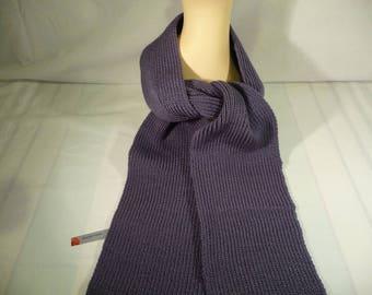 Acrylic knitted scarf, Damson colour