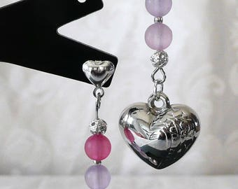 Earrings with pink and purple beads and silver heart 6cm