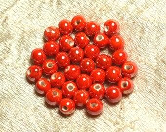 100pc - Orange iridescent beads ceramic porcelain round 8 mm