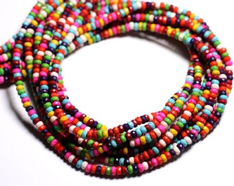 40pc - beads Turquoise synthetic multicolored faceted Rondelle 4x2mm - 4558550084712