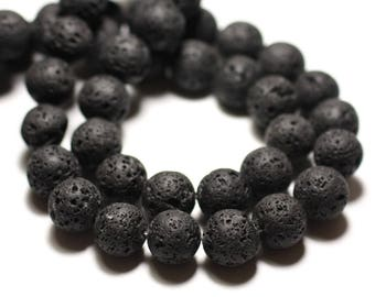 10pc - stone beads - black lava balls 12mm 4558550007827