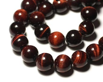 Stone - Bull ball 14mm red Tiger's eye bead 1pc - big hole 3mm - 8741140019461