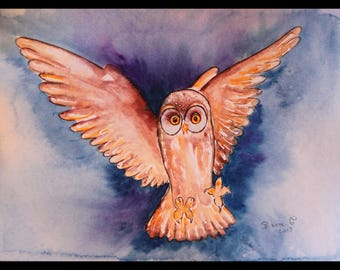 OWL painting contemporary art, animal art