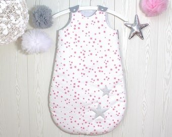 Baby sleeping bag 1-8 months, white with pink stars, light grey back