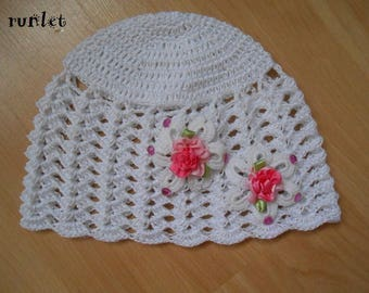 2 white crochet baby hat the crochet.bapteme cotton flowers