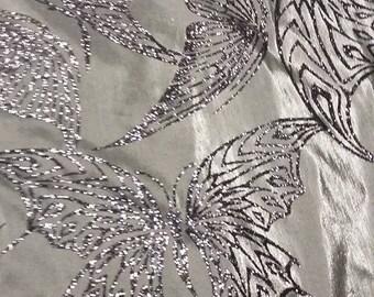 gorgeous tissue taffeta Heather 150 cm width grey sequin Butterfly motif