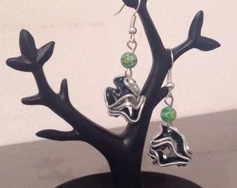 Green Nespresso capsule ball earrings