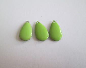 10 GREEN ENAMEL DROP