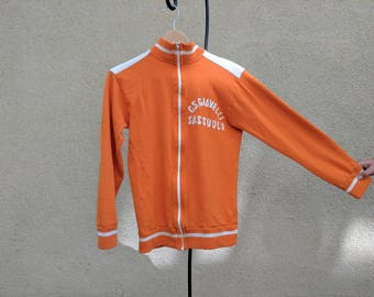 Vintage Italian wool cycling sweater - orange w/ white lettering and detail.