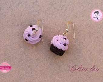 Gourmet jewelry: chocolate/Strawberry and sprinkles polymer clay cupcake earrings