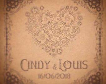 25 Steampunk themed wedding invitation