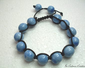 Blue ceramic bead fashion bracelet