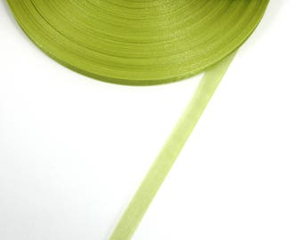 5 meters of 10 mm OLIVE green organza Ribbon