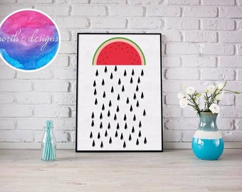 Watermelon Rain Home Décor Print by North C Designs