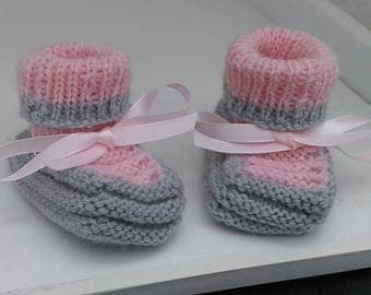 Grey/pink booties newborn