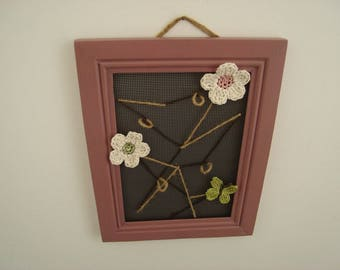 Spring jewelry, plum and floral frame