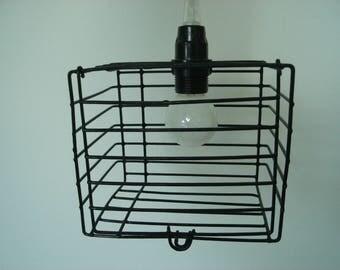 black rectangle cage light pendant