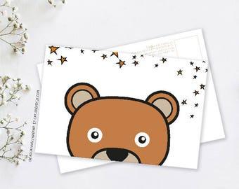 Map postcard decorative Camille bear