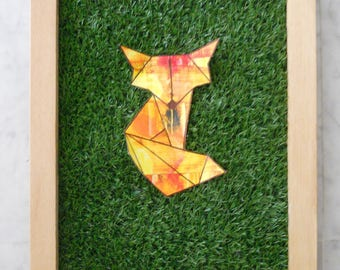 Frame + Synthetic Grass + origami fox