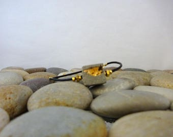 """Bracelet made of concrete and gold, contemporary jewelry, """"Tibout""""..."""